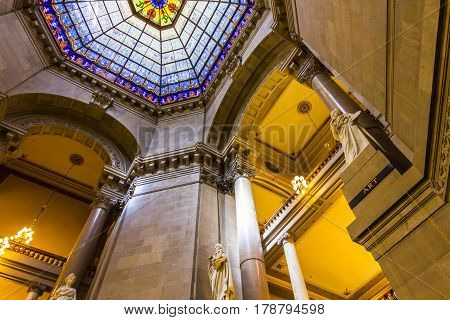 Indianapolis - Circa September 2016: Indiana State Capital Rotunda. The beautiful stained glass rotunda window is original and made from German glass I