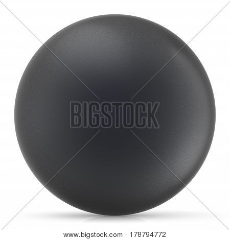 Black sphere round button ball basic matted circle geometric shape solid figure simple. 3D render illustration isolated