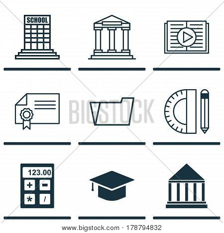 Set Of 9 School Icons. Includes Document Case, College, Diploma And Other Symbols. Beautiful Design Elements.