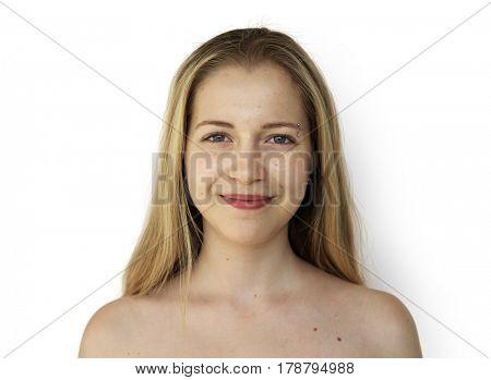 Young Adult Woman Face Smile Expression Studio Portrait