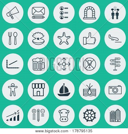 Set Of 25 Universal Editable Icons. Can Be Used For Web, Mobile And App Design. Includes Elements Such As Opportunity, Eating House, Sailboat And More.