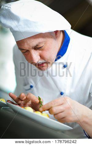 Professional chef garnishing a dish