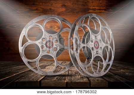 Old fashioned motion picture film reels, close up.