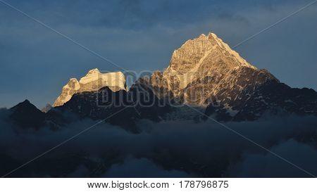 Mount Thamserku just before sunset. Scene in Namche Bazar Everest National Park Nepal.