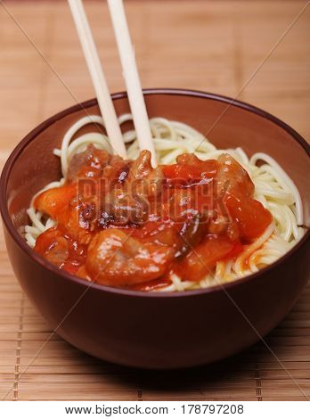 Chinese food - noodles with meat, tasty food