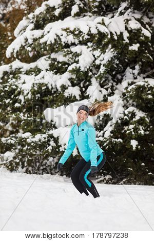 Winter Sport, Girl Jumping In Snow