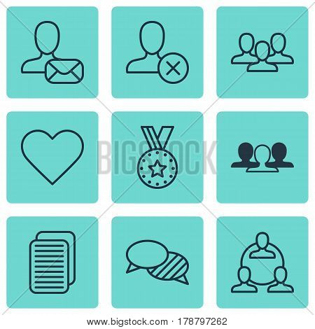 Set Of 9 Social Network Icons. Includes Speaking, Follow, Teamwork And Other Symbols. Beautiful Design Elements.