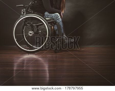 Depressed person on wheelchair. Disabled human. Disability sadness health rehabilitation concept.