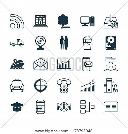 Set Of 25 Universal Editable Icons. Can Be Used For Web, Mobile And App Design. Includes Elements Such As Graduation, Dinner, Calculation And More.