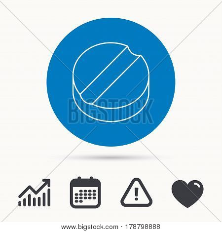 Tablet icon. Medicine drug sign. Pharmaceutical cure symbol. Calendar, attention sign and growth chart. Button with web icon. Vector