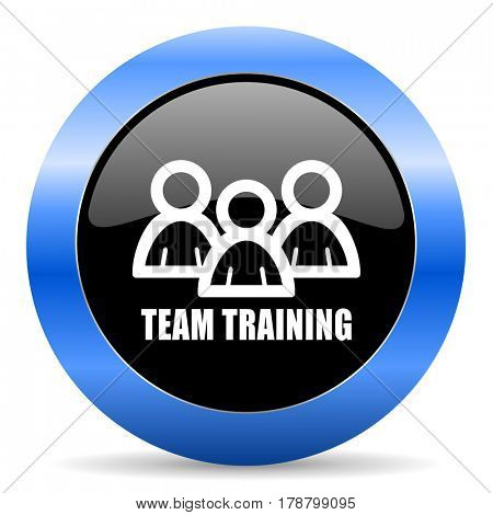 Team training black and blue web design round internet icon with shadow on white background.