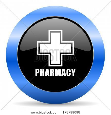 Pharmacy black and blue web design round internet icon with shadow on white background.