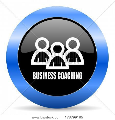 Business coaching black and blue web design round internet icon with shadow on white background.