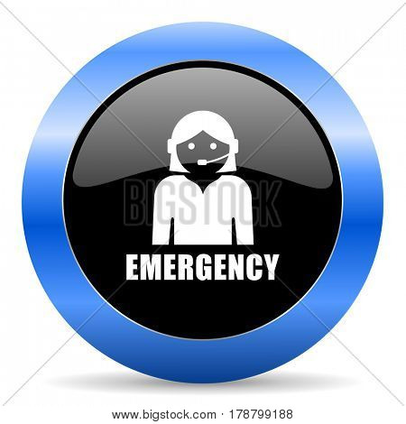 Emergency black and blue web design round internet icon with shadow on white background.