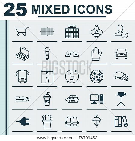 Set Of 25 Universal Editable Icons. Can Be Used For Web, Mobile And App Design. Includes Elements Such As Microphone, Document Suitcase, Wheelbarrow And More.