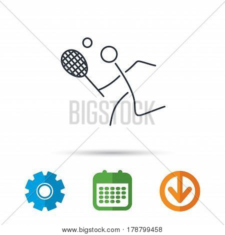 Tennis icon. Racket with ball sign. Professional sport symbol. Calendar, cogwheel and download arrow signs. Colored flat web icons. Vector