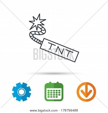 TNT dynamite icon. Bomb explosion sign. Calendar, cogwheel and download arrow signs. Colored flat web icons. Vector