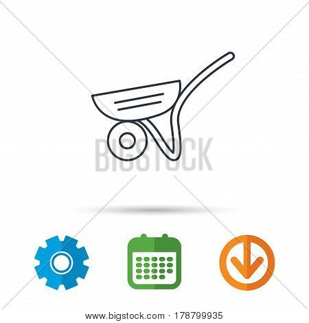 Trolley icon. Garden cart sign. Gardener equipment symbol. Calendar, cogwheel and download arrow signs. Colored flat web icons. Vector