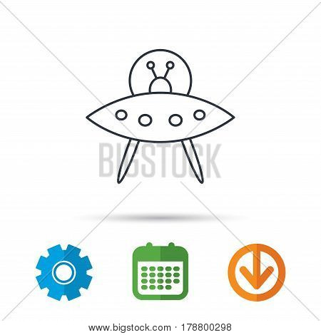 UFO icon. Unknown flying object sign. Martians symbol. Calendar, cogwheel and download arrow signs. Colored flat web icons. Vector