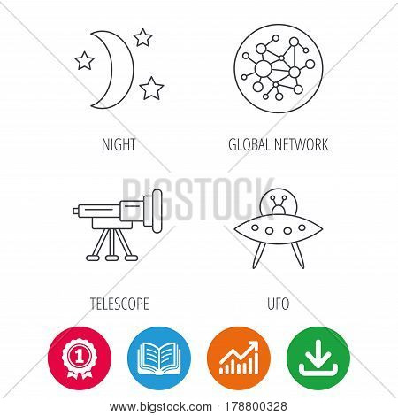 Ufo, global network and telescope icons. Night linear sign. Award medal, growth chart and opened book web icons. Download arrow. Vector