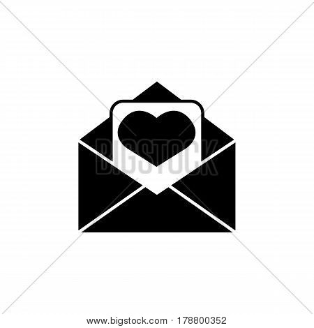 Love letter solid icon, mother's day card, envelope with hearth vector graphics, a filled pattern on a white background, eps 10.