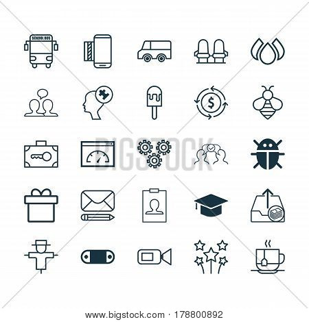 Set Of 25 Universal Editable Icons. Can Be Used For Web, Mobile And App Design. Includes Elements Such As Present, Lolly, Hot Drink And More.
