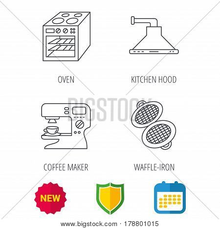 Waffle-iron, coffee maker and oven icons. Kitchen hood linear sign. Shield protection, calendar and new tag web icons. Vector