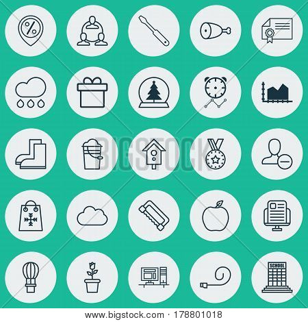 Set Of 25 Universal Editable Icons. Can Be Used For Web, Mobile And App Design. Includes Elements Such As Rain, Cloud, Remove User And More.