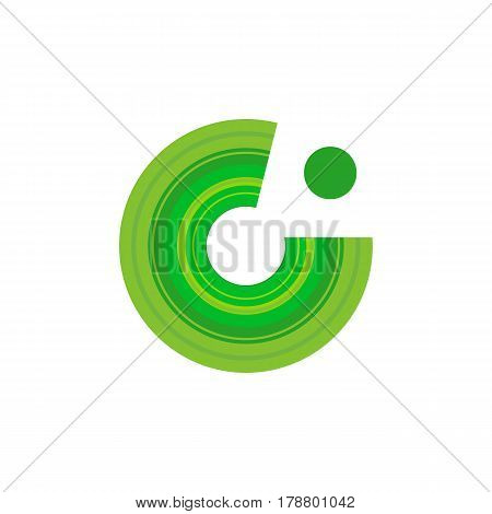 Isolated abstract green round cut logo vector