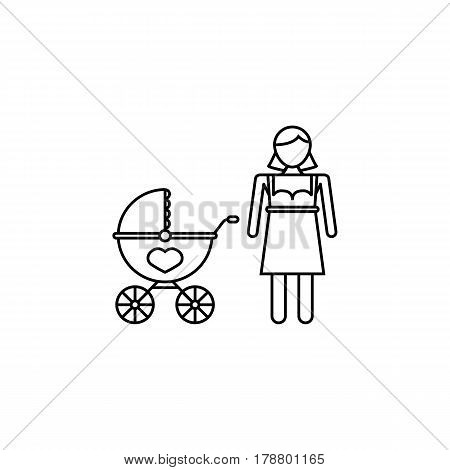 Woman with pram line icon, mother's day, mom with stroller vector graphics, a linear pattern on a white background, eps 10.