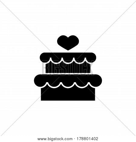 Cake with hearth solid icon, mother's day, sweet vector graphics, a filled pattern on a white background, eps 10.