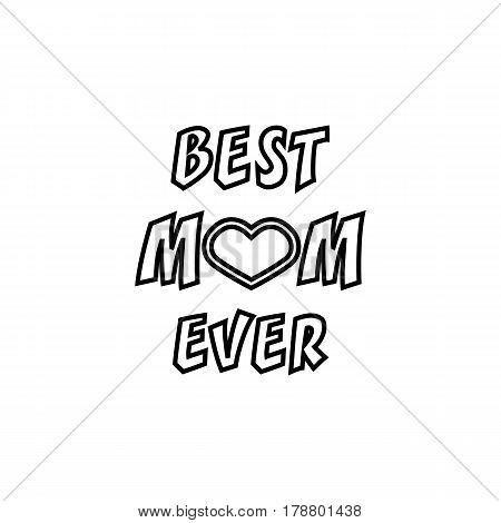 Best mom ever line icon, mother's day, greeting card vector graphics, a linear pattern on a white background, eps 10.