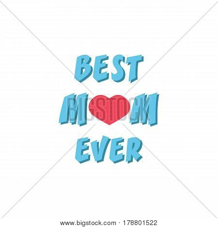 Best mom ever flat icon, mother's day, greeting card vector graphics, a colorful solid pattern on a white background, eps 10.