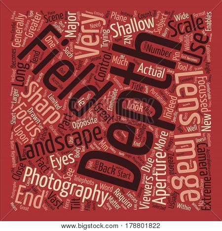 Landscape photography depth of field Word Cloud Concept Text Background