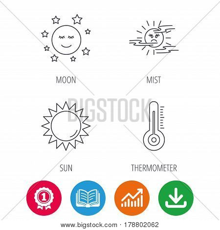 Thermometer, sun and mist icons. Moon night linear sign. Award medal, growth chart and opened book web icons. Download arrow. Vector