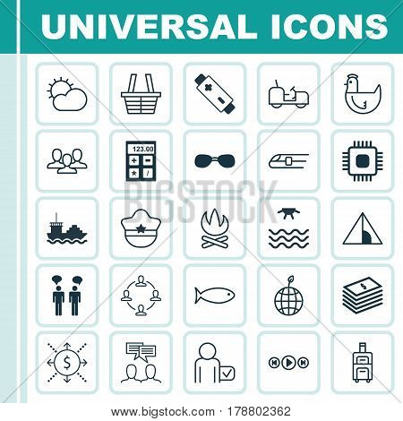 Set Of 25 Universal Editable Icons. Can Be Used For Web, Mobile And App Design. Includes Elements Such As Collaboration, Sunrise, Camping House And More.
