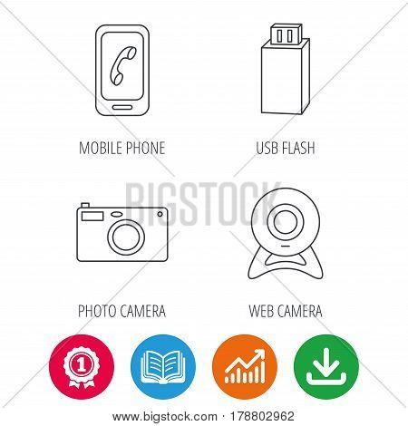 Photo camera, mobile phone and Usb flash icons. Web camera linear sign. Award medal, growth chart and opened book web icons. Download arrow. Vector