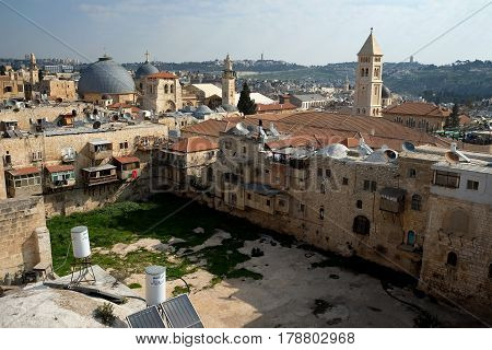 JERUSALEM ISRAEL - MARCH 25 2017: View from above on the pool of Hezekiahu in the old city of Jerusalem