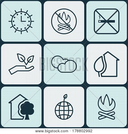 Set Of 9 Ecology Icons. Includes House, Home, Sun Clock And Other Symbols. Beautiful Design Elements.