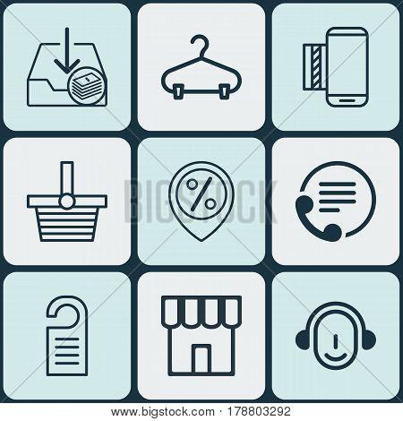 Set Of 9 Ecommerce Icons. Includes Mobile Service, Pannier, Telephone And Other Symbols. Beautiful Design Elements.