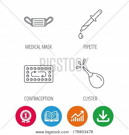 Medical mask, contraception and pipette icons. Clyster linear sign. Award medal, growth chart and opened book web icons. Download arrow. Vector