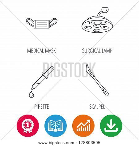 Medical mask, scalpel and pipette icons. Surgical lamp linear sign. Award medal, growth chart and opened book web icons. Download arrow. Vector