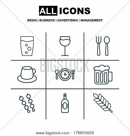 Set Of 9 Food Icons. Includes Meal Hour, Coffee Cup, Soda Drink And Other Symbols. Beautiful Design Elements.