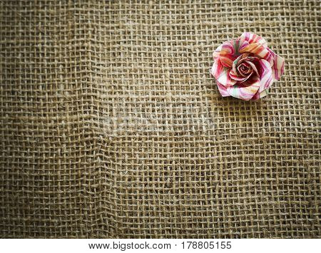 Spring Paper Flower On Sack Texture