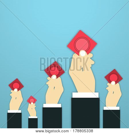Condom Vector Illustration Male hands are holding condoms in red pack on blue background Poster template in support of safe sex