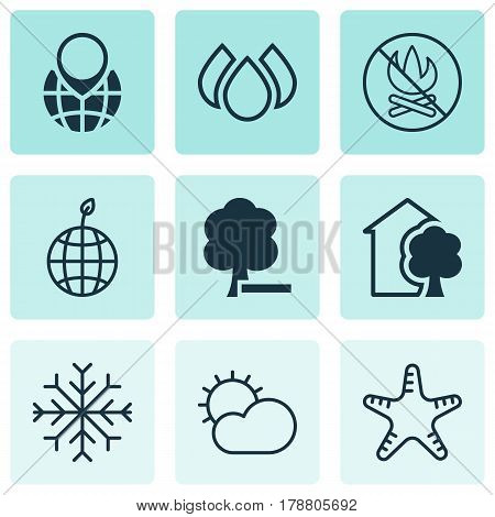 Set Of 9 Eco Icons. Includes Delete Woods, Fire Banned, Aqua And Other Symbols. Beautiful Design Elements.