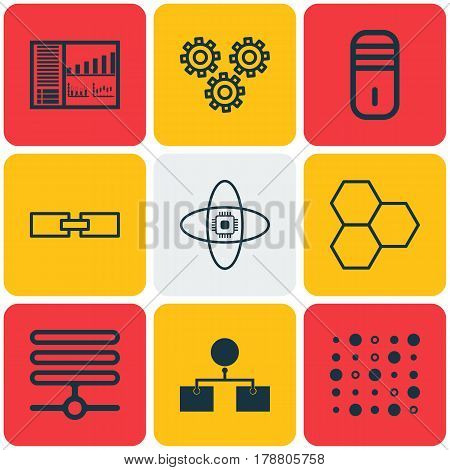 Set Of 9 Robotics Icons. Includes Controlling Board, Mainframe, Atomic Cpu And Other Symbols. Beautiful Design Elements.