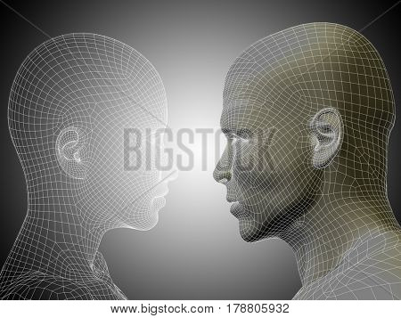 Conceptual 3D illustration wireframe or mesh human male and female head on gray background