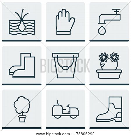 Set Of 9 Garden Icons. Includes Spigot, Agrimotor, Growing Plant And Other Symbols. Beautiful Design Elements.