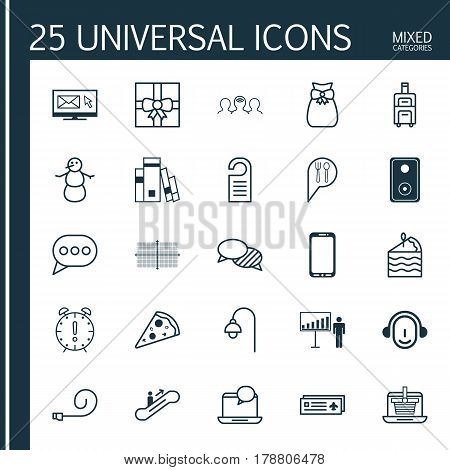 Set Of 25 Universal Editable Icons. Can Be Used For Web, Mobile And App Design. Includes Elements Such As Smartphone, Present Pouch, Lamppost And More.